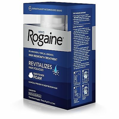ROGAINE Men's Foam 5% Minoxidil Hair Regrowth Treatment - 3 Month- Ship Globally