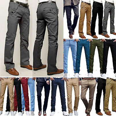 Mens Slim Fit Stretch Chino Trousers Casual Flat Front Formal Straight-Leg Pant