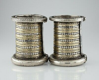 Pair of Large Silver and Brass Bangle Arm Cuffs Gorgeous Heavy!