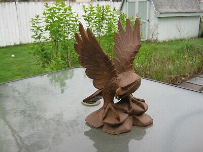 "Vintage Hand Carved Wooden Eagle Falcon Wings Out Stands 12 1/2"" Inches Tall"