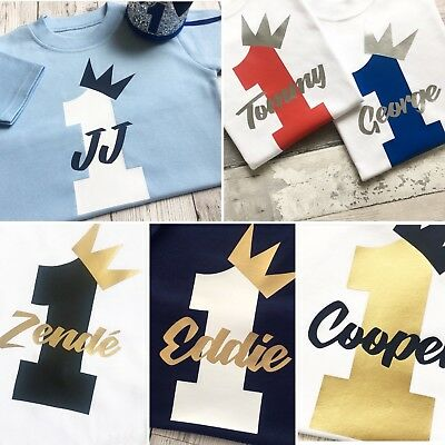 Personalised First Birthday Tshirt Top Outfit Vest Boys One 1st