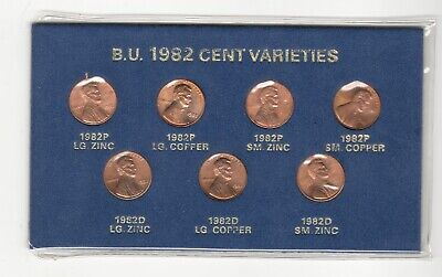 1982 Lincoln Cents 7 Coin Variety Set - Lg Date Small Date Copper & Zinc in Blue