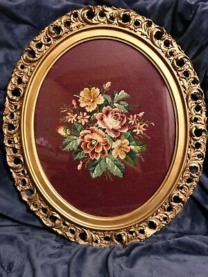 "Antique Floral Needlepoint Wall Art Picture Oval Wood Frame 26""x22"""