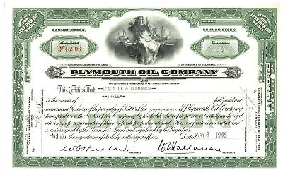 Plymouth Oil Company. Stock Certificate
