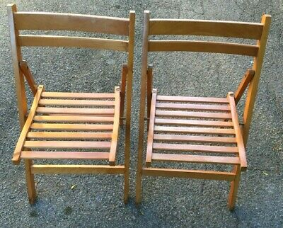 Set of 2 Antique Vintage Americana Wooden Folding Chairs - Nice!