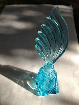 Beautiful Vintage Czech ART DECO blue aquamarine coloured glass perfume bottle