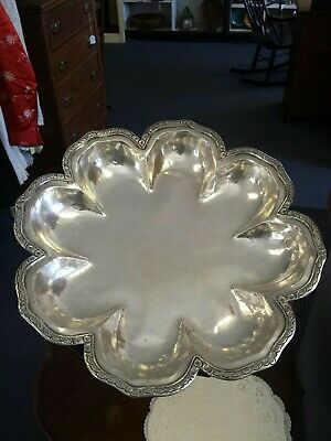 Large .900 Silver Peruvian Hand Hammered Serving Platter