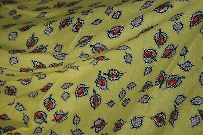 """Vintage 40s 50s Rich YELLOW Seersucker with Red Rose Buds FABULOUS 34  X 88 """""""