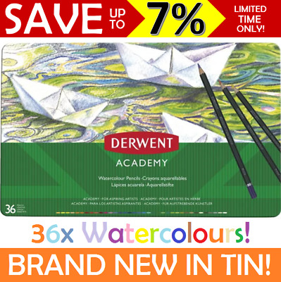 NEW IN TIN Derwent ACADEMY 36x Watercolour Pencils Set Coloured Assorted 2300226