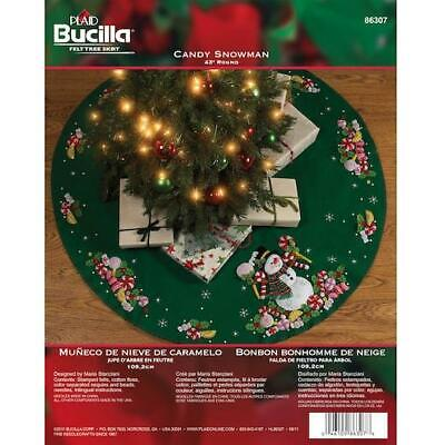 "Bucilla 43"" Felt Christmas Tree Skirt Kit - Candy Snowman"