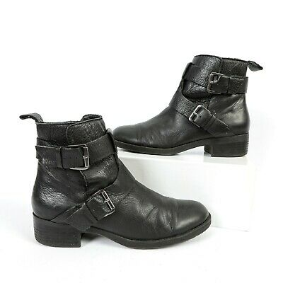 2cd32c73ebb Kenneth Cole Reaction Ankle Boots Black Zip Buckle Booties Womens Size 9.5 M