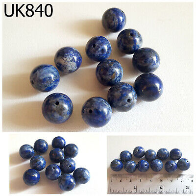 Lot 11 Ancient Style Lapis w/ Pyrite Carved Egyptian Ball Beads #UK840a