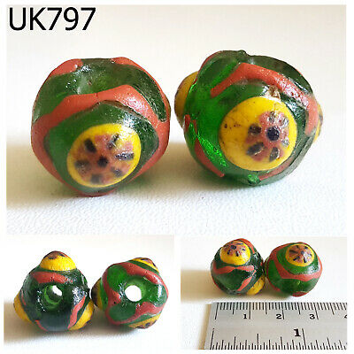 2 Warring States Yellow Stratified EYE Islamic Mosaic Green Glass Beads #UK797a