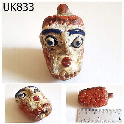 Phoenician White Mask Face Head Blue Eye Mosaic Red Glass Bead Pendant #UK833a