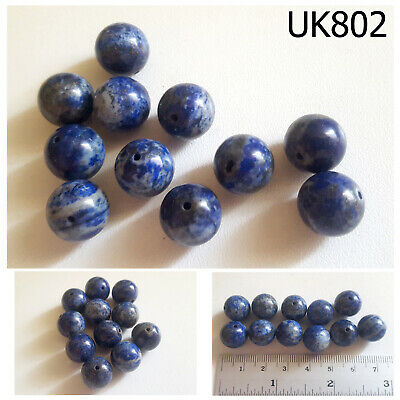 Lot 11 Ancient Style Lapis w/ Pyrite Carved Egyptian Ball Beads #UK802a