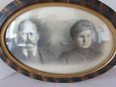 Antiques Antique Convex Bubble Glass Wood Frame With Young Girl Hand-colored Picture