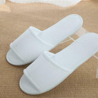 10 Pairs White Towelling Open/Closed Toe Hotel Slippers Spa Shoes Disposable Lot