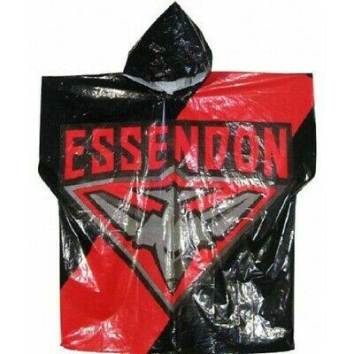Essendon Bombers Official AFL Logo Plastic Poncho Rain Coat with Hood