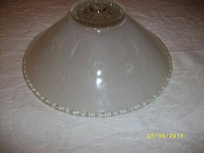Vintage ceiling light fixture glass shade 3 hole mount drape pattern