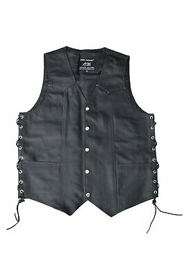 ARD Mens Black Cowhide Leather Classic Motorcycle Side Laces Biker//Club Vest 2X-Large