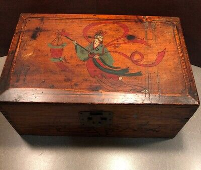 Antique Chinese China Tea Wooden Crate Box Hand Painted