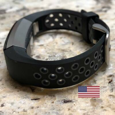 Soft Breathable Silicone Sport Wrist Band Fitbit Alta Fitbit Alta HR BLACK- GRAY