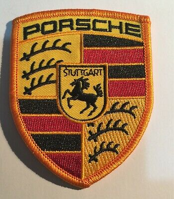 PORSCHE SHIELD (Yellow/Red/Black), Sew on cloth patch, cars, Embroidered 9 x 7cm