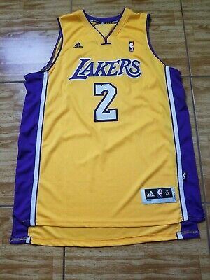 f0af5d3be4a Rare Vintage Sewn Adidas Authentic Derek Fisher Lakers Yellow Jersey Size XL