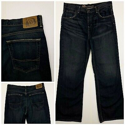 9cd377f4222 MENS BULLHEAD SIZE 36 x 32 loose bootcut dark wash blue jeans BV8 ...