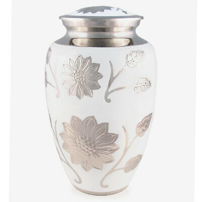 "Cremation Urn for adults - Size Large 10"" - White Floral/Nickel"