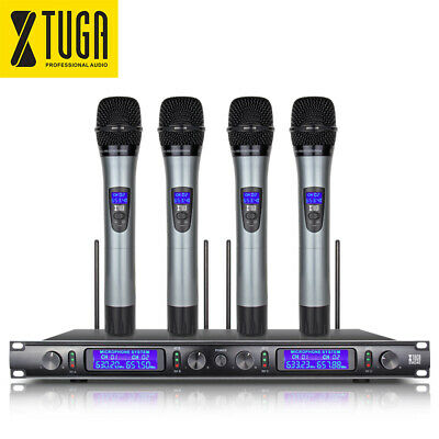 XTUGA EW240 4 Channel UHF Wireless Microphone System 4 Metal Handheld Microphone
