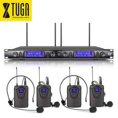 XTUGA EW240 4 Channel UHF Wireless Microphone System 4 Bodypack Lapel Microphone