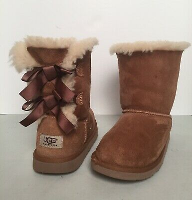 7e455737017 KIDS GIRLS 4 Ugg Purple Mini Bailey Bow Flowers Suede Sheepskin ...