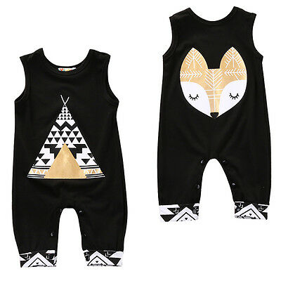 Newborn Baby Boy Cartoon Romper Bodysuit Jumpsuit Cute Fox Clothes Outfits