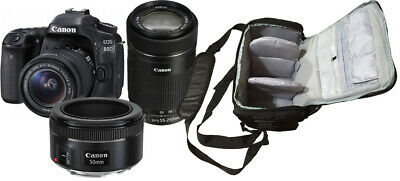 NEW Canon 80D + 18-55mm, 55-250mm + 50mm + KamKorda Camera Bag UK NEXT DAY DEL