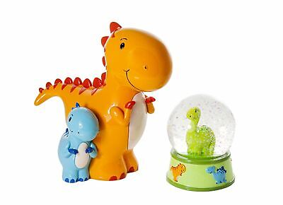 Dinosaur Snow Globe Piggy Bank Money Coin Box Kids Boys Baby Christening Gifts