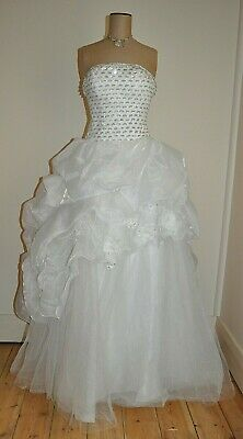 Strapless Sequinned Lace-Up Bodice Wedding Dress