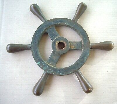 A Vintage Solid Brass Ships  Wheel  350 Mm In Diameter And 4 .6 Kg In Weight.