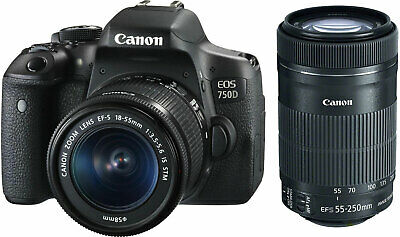 NEW Canon 750D with 18-55mm + 55-250mm Lens - UK NEXT DAY DELIVERY