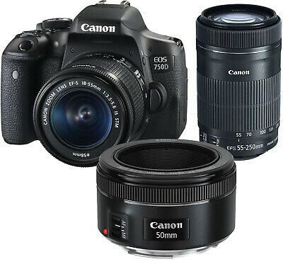NEW Canon EOS 750D + 18-55mm, 55-250mm and 50mm Lens UK NEXT DAY DELIVERY