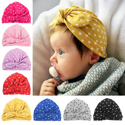 Toddler Baby Girl Turban Hats Stretchy Polka Dots Beanie Caps Hair Head Wrap Cap