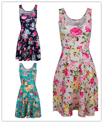Women Casual Sleeveless Floral Tank Dress Vintage A-line Swing Dresses Sundress