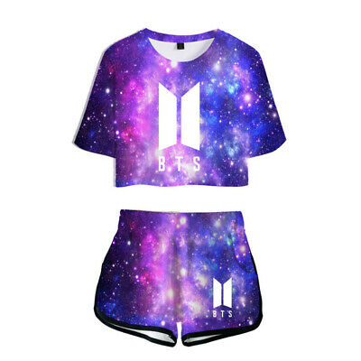 2PCS KPOP BTS Bangtan Boy T-Shirt + Shorts Girls Jimin Jin V Suga Jung Tee Set