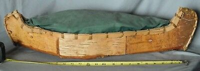 Antique Native American birch bark canoe 1925 model Mohawk St. Regis pin cushion