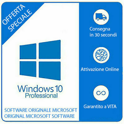 Windows 10 Pro Professional GENUINO 32/64 Bit Chiave ORIGINALE Key Full ESD 100%