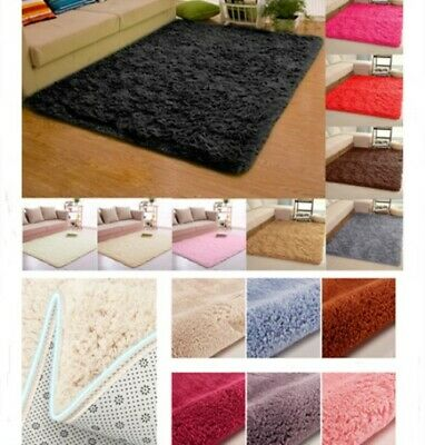 Floor Door Mat Fluffy Long Pile Thick Plain Carpet Room Shaggy Carpet Anti-Skid