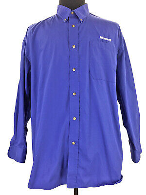 5377676f Munsingwear Mens Microsoft Logo Button Down Blue Long Sleeve Shirt Size 2XL  XXL