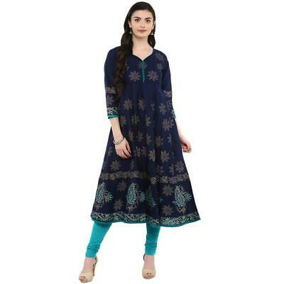 d1b26e0763 Indian Women's Hand Block Printed Casual Cotton Casual Anarkali Kurta Kurti