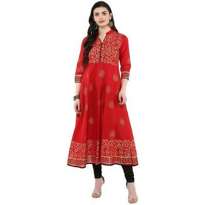 76e53614cd Indian Women's Hand Block Printed Traditional Cotton Casual Anarkali Kurta  Kurti