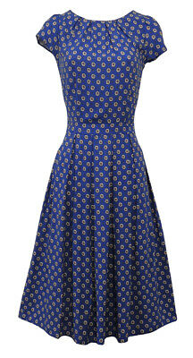 New Ladies Royal Blue WWII 1930's/40's Vtg style Wartime Victory Tea Dress